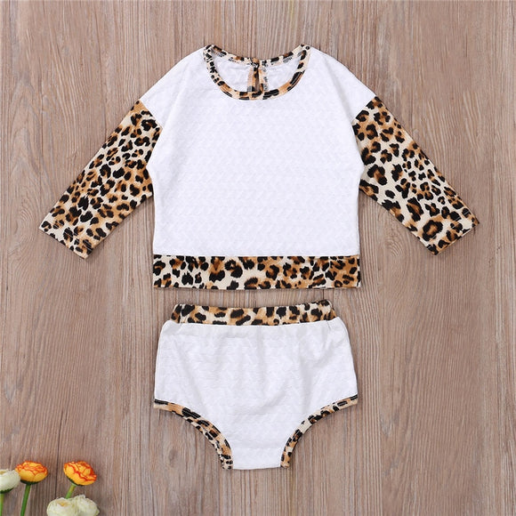 White Leopard Print Tone Top W/ Matching Bummies
