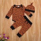 Cheetah Long Sleeve Top W/ Matching Drawstring Pants & Hat