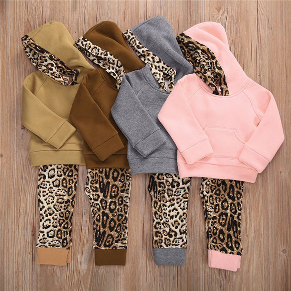 Leopard Print Lined Hoodie W/ Matching Pants
