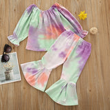 Tie Dye Off Shoulder Scrunch Sleeve Top W/ Matching Bell Bottoms