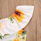 Sunflower Off Shoulder Top W/ Yellow Button Ruffle Skirt