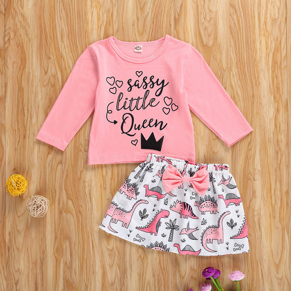 Sassy Little Queen Top W/ Matching Dinosaur Bowknot Skirt