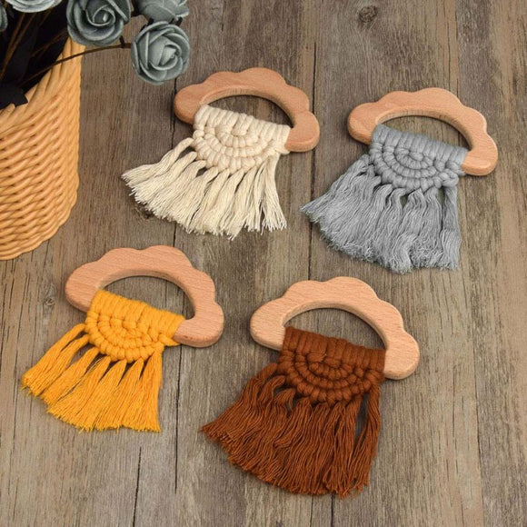 Wooden Organic Cloud Shaped Fringe Teether