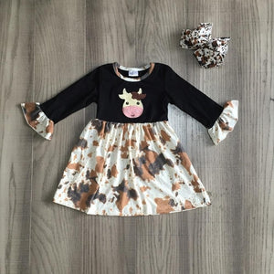 Brown Cow Petal Sleeve Dress W/ Matching Bow