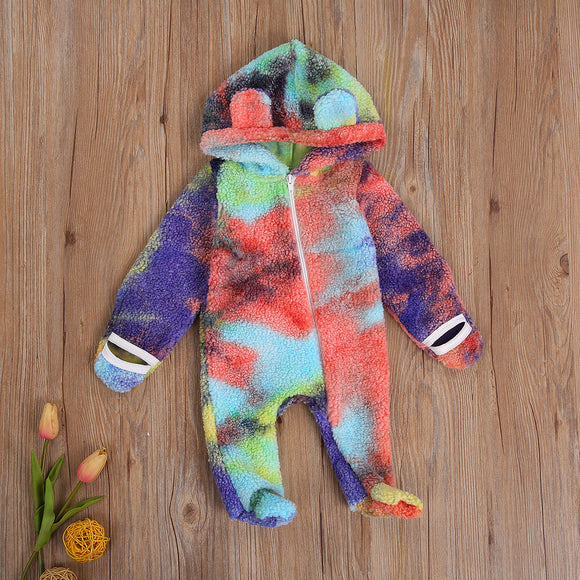 Tie Dye Bear Ear Hooded Warm Jumpsuit