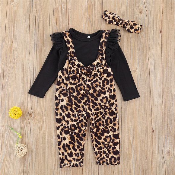 Black Ruffle Shoulder Top W/ Leopard Print Suspender Trousers & Matching Headband