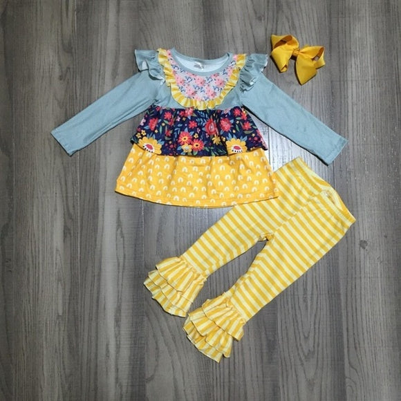 Yellow Floral Ruffle Shoulder Top W/ Matching Striped Pants & Bow