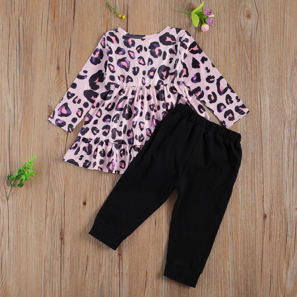 Purple Leopard Print Ruffle Top W/ Matching Pants