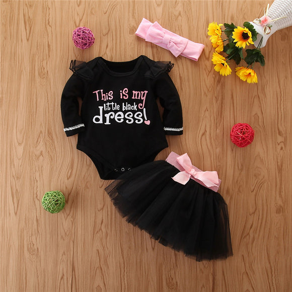 Little Black Dress Ruffle Shoulder Bodysuit W/ Matching Tutu Skirt & Headband