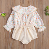 Ruffled Peter Pan Collar Blouse W/ Suspender Overall Shorties