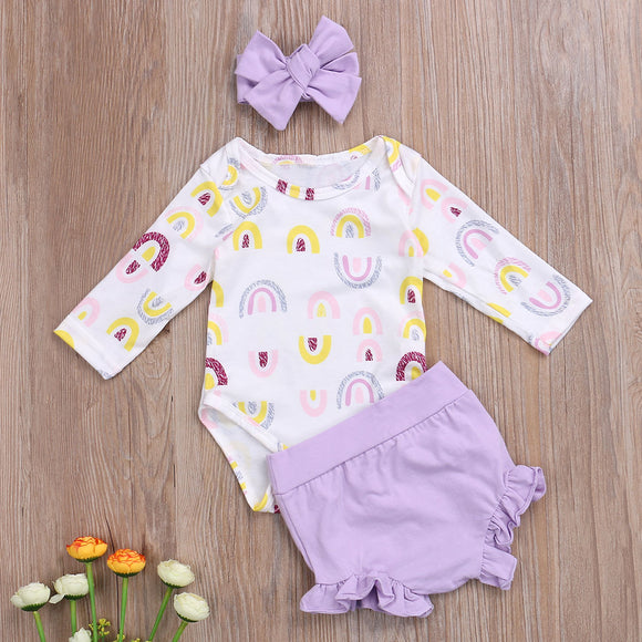 Rainbow Bodysuit W/ Matching Ruffle Bummies & Headband