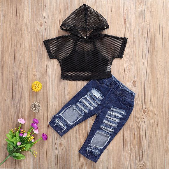Black Cami Crop Top W/ Hollow Net Hoodie & Dark Denim Ripped Jeans