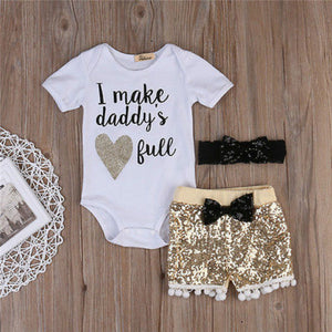 I Make Daddy's Heart Full Bodysuit W/ Matching Sequin Shorts & Headband