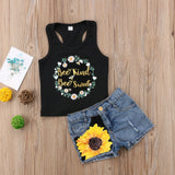 Bee Kind Bee Sweet Floral Top With Denim Shorts