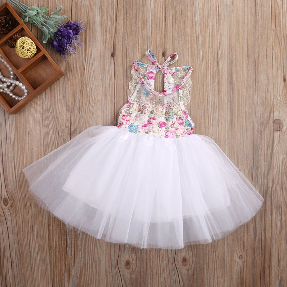Floral Lace Backless Tutu Sundress Gown