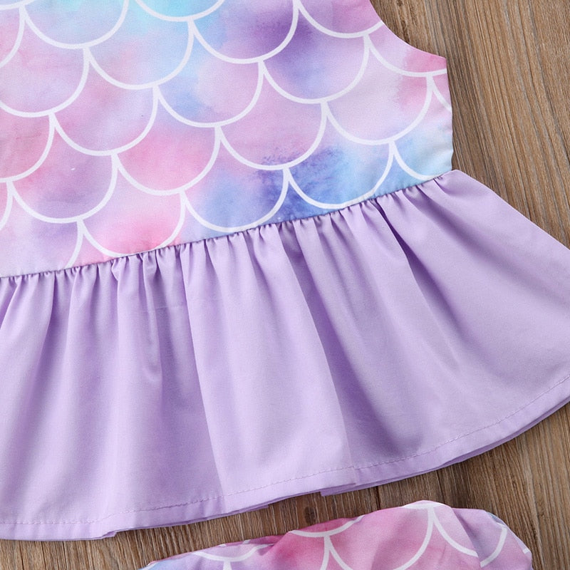Purple Mermaid Scale Ruffle Top W/ Matching Bottoms