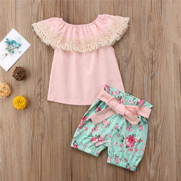 Tassel Off Shoulder Top W/ Bowknot Floral Shorts