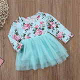 Blue Floral Tutu Mini Dress