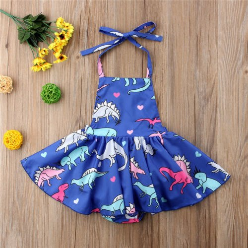 Blue Halter Dino Dress
