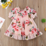 Pink Floral Butterfly Puff Sleeve Mini Dress