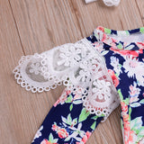 Long Sleeve Floral Lace Shoulder Bodysuit W/ Headband