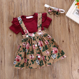 Wine Ruffle Bodysuit W/ Floral Suspender Skirt & Headband
