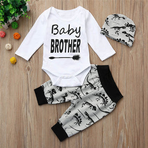 Baby Brother Bodysuit W/ Dinosaur Print Pants & Matching Cap