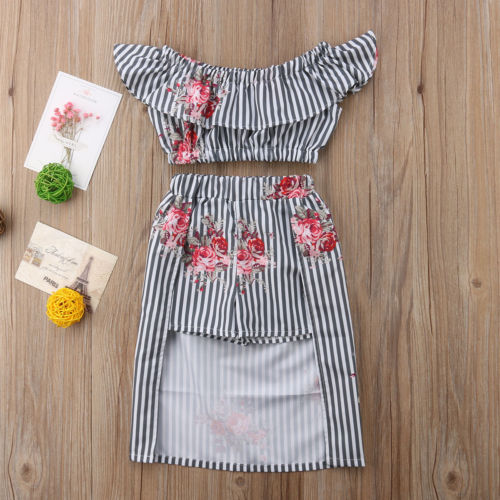 Striped Floral Off Shoulder Top W/ Matching Skirt Set