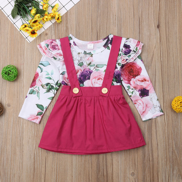 Floral Ruffle Shoulder Bodysuit W/ Matching Suspender Skirt
