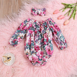 Pink Floral Long Sleeve Bodysuit W/ Matching Headband