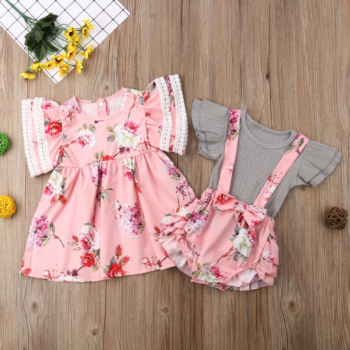 Big Sister Little Sister Matching Pink Floral Sundress & Sunsuit