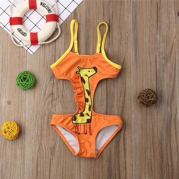 Orange & Yellow Giraffe One Piece Swimsuit