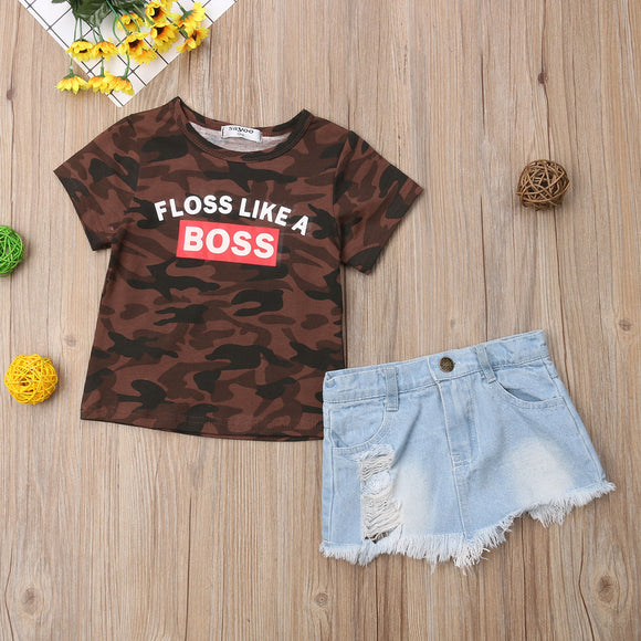 Floss Like A Boss Dark Camo Top W/ Denim Skirt