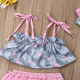 Flamingo Halter Top W/ Matching Plaid Ruffle Bottoms & Headband