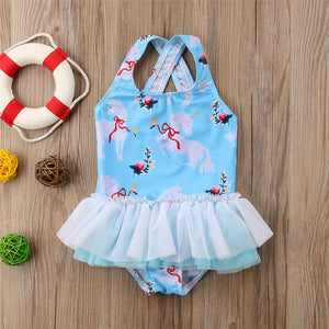 Blue Unicorn Floral Tutu Swimsuit