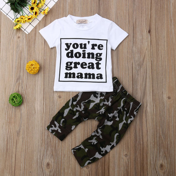 You're Doing Great Mama Short Sleeve Top W/ Camo Pants