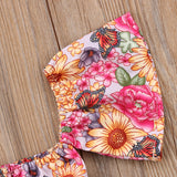 Floral Butterfly Crop Top W/ Matching Bowknot Bottoms
