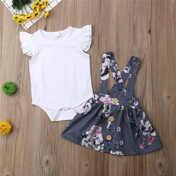 Gray Floral Suspender Skirt Outfit