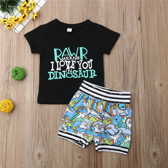 Rawr Means I Love You In Dinosaur Top W/ Matching Shorts