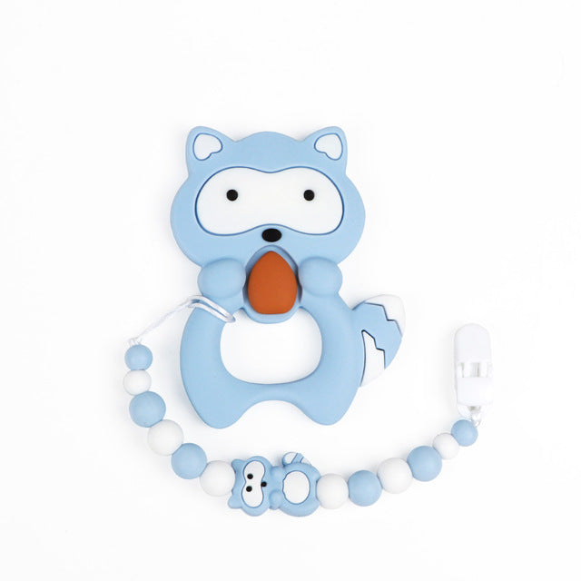 Silicone Raccoon Teether W/ Clip