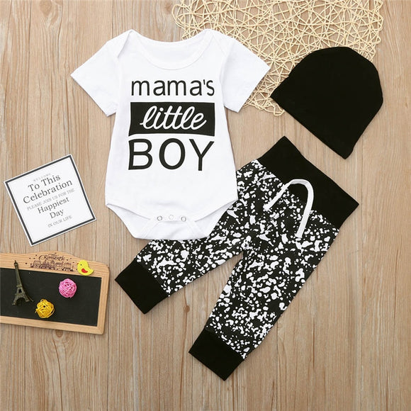Mama's Little Boy Bodysuit Outfit W/ Matching Cap