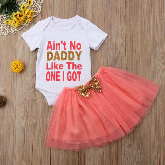 Ain't No Daddy Bodysuit W/ Matching Tutu Skirt