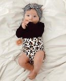 Black Bodysuit W/ Leopard Print Bottoms & Striped Headband