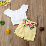 White Ruffle Crop Top W/ Yellow Floral Bowknot Shorts