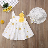 Polka Dot Floral Sundress W/ Matching Sunhat