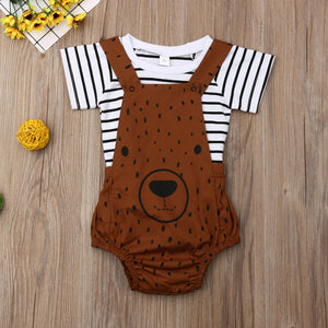Striped Top W/ Bear Overall Romper