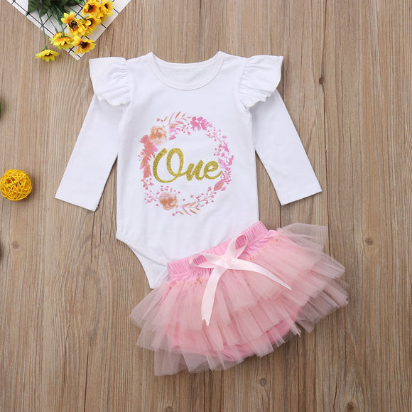 'One' 1st Birthday Ruffle Shoulder Bodysuit W/ Tutu Bottoms