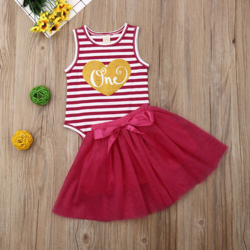 'One' Striped Tank Bodysuit W/ Matching Tutu Skirt