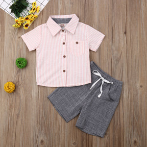 Solid Collared Button Top W/ Drawstring Shorts