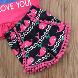 I Whaley Love You Pom Pom Shorts Outfit Set